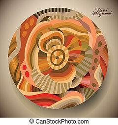 abstratos, flor, redondo, etiqueta