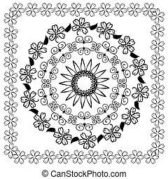 abstratos, floral, arabesco, padrão
