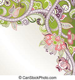 abstratos, floral, canto