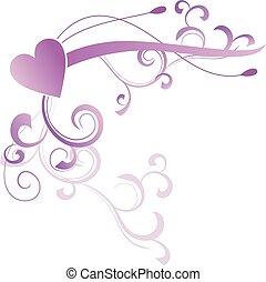 abstratos, floral, coração, violeta, magenta, vetorial