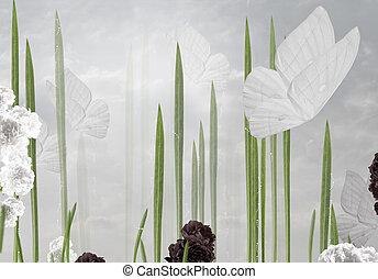 abstratos, floral, fundo, com, borboletas