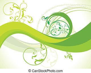 abstratos, floral, il, vetorial, onda