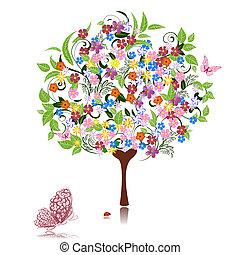 abstratos, flores, árvore