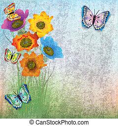 abstratos, flores, borboletas, fundo
