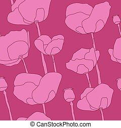 abstratos, flores côr-de-rosa, seamless, padrão