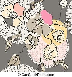 abstratos, flores, experiência., seamless, padrão