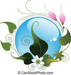 abstratos, flores, folhas