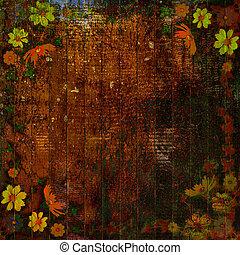 abstratos, flores, grunge, fundo, grupo