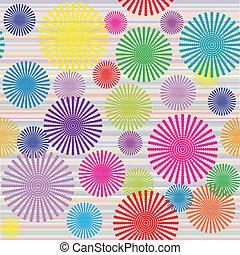 abstratos, flores, listrado, experiência colorida