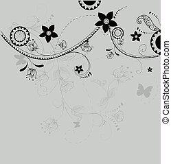 abstratos, flowers., ilustração