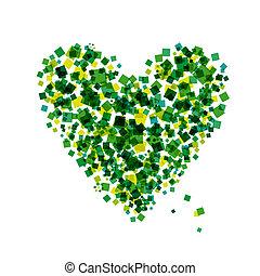 abstratos, forma coração, para, seu, desenho