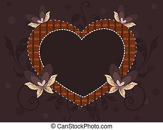 abstratos, forma coração, quadro, feito, com, elementos decorativos, corações, e, espaço cópia, ligado, seamless, experiência marrom, para, dia dos namorados, e, outro, occasions.