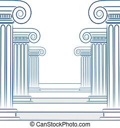 abstratos, forre desenho, de, colunas gregas, e, escadas, em, vetorial, format.