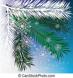 abstratos, fundo, árvore natal, com, snowflakes