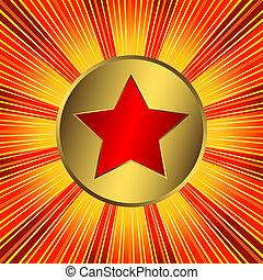 abstratos, fundo alaranjado, com, estrela vermelha, (vector)