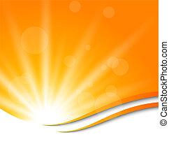 abstratos, fundo alaranjado, com, luz sol, raios