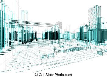 abstratos, fundo, arquitetura