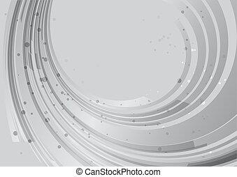 abstratos, fundo, arredondado, cinzento, elemento