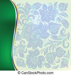 abstratos, fundo, com, azul, floral, ornamento, ligado, verde