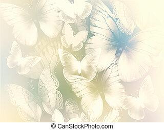 abstratos, fundo, com, borboletas