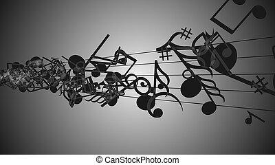 abstratos, fundo, com, coloridos, música, notas.
