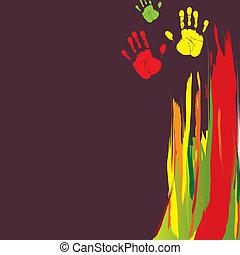 abstratos, fundo, com, cor, mão