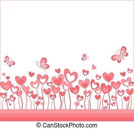 abstratos, fundo, com, corações, e, borboleta