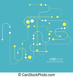 abstratos, fundo, com, curvado, linhas, pontilhado, linhas,...