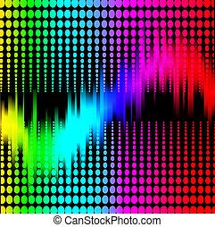 abstratos, fundo, com, espectro, equalizador, ligado, pretas