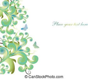 abstratos, fundo, com, formas, e, borboletas