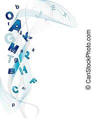 abstratos, fundo, com, letras