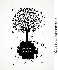abstratos, fundo, com, mão, desenhado, redemoinho, árvore