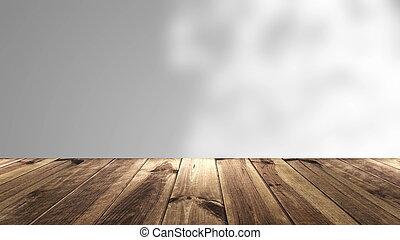 abstratos, fundo, com, perspectiva, madeira, e, borrão, background.., 3d, fazendo