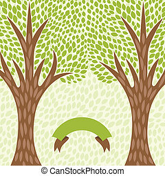 abstratos, fundo, com, stylized, árvores, em, retro, style.