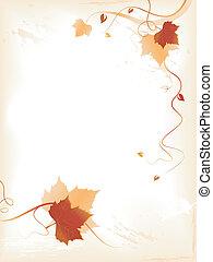 abstratos, fundo, com, vermelho, dourado, foliage, e,...