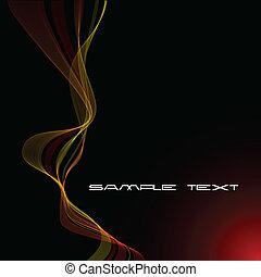 abstratos, fundo, curvas, amarela, vermelho