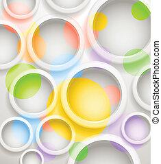 abstratos, fundo, de, cor, circles., modelo, para, um, texto