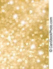 abstratos, fundo, de, dourado, feriado, luzes