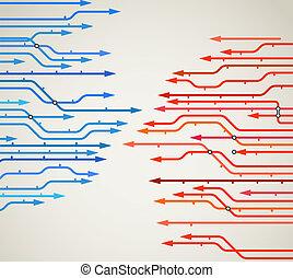 abstratos, fundo, de, metro, linhas, com, setas