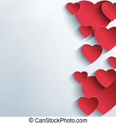abstratos, fundo, elegante, corações, vermelho,  3D