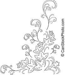 abstratos, fundo, flor, contorno