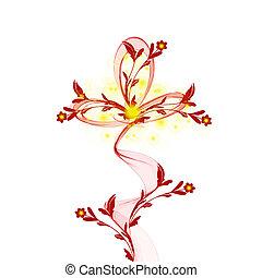 abstratos, fundo, floral