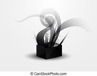 abstratos, fundo, -, fumaça preta, p