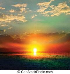 abstratos, fundo, mar, amanhecer