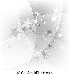 abstratos, fundo, prata, estrelas