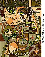 abstratos, fundo, rosto