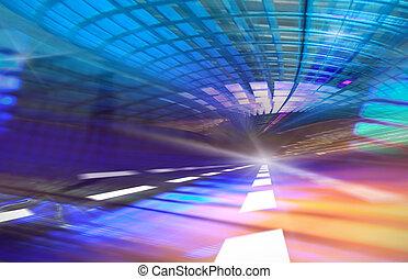 abstratos, fundo, velocidade, movimento, em, urbano, rodovia, túnel estrada, movimento turvado, direção, a, light., computador gerou, azul, futurista, illustration.
