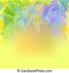 abstratos, fundo, vetorial, amarela, triângulos