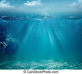 abstratos, fundos, oceânicos, desenho, mar, seu