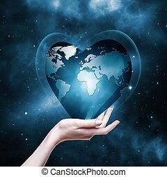 abstratos, fundos, planeta, ambiental, nosso, mãos, seu